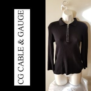 CABLE & GAUGE BLACK EMBELLISHED ZIP SWEATER